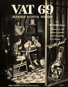 1937 Ad Vat 69 Vintage Alcohol Park Tilford Liquor - ORIGINAL ADVERTISING FTT9