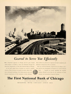 1939 Ad First National Bank Chicago Railway Locomotive - ORIGINAL FTT9