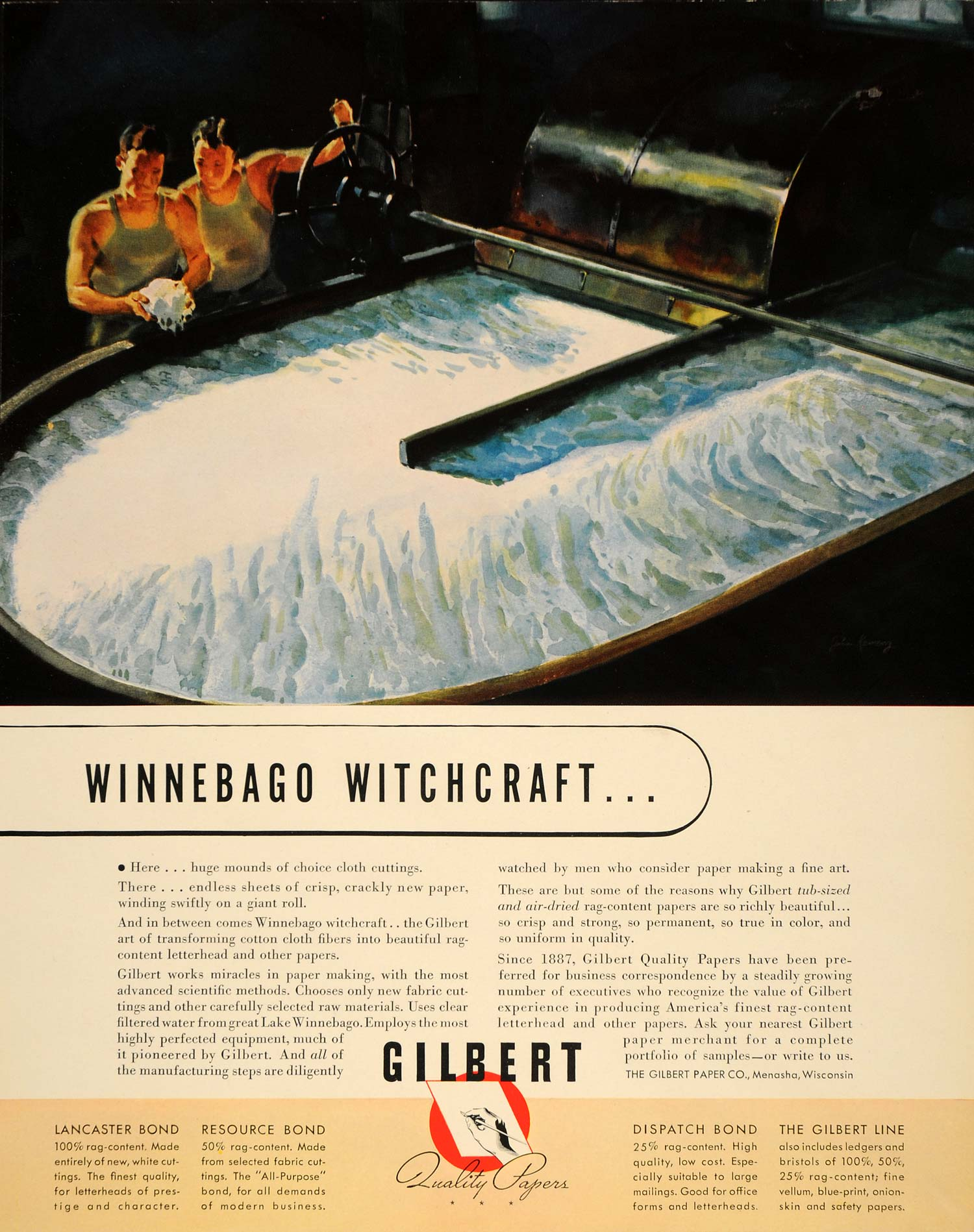 1939 Ad Gilbert Lake Winnebago Quality Paper Menasha - ORIGINAL ADVERTISING FTT9