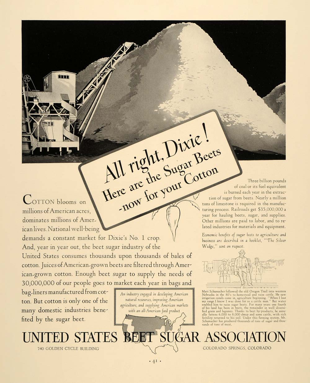 1937 Ad United States Beet Sugar Cotton Agriculture - ORIGINAL ADVERTISING FTT9