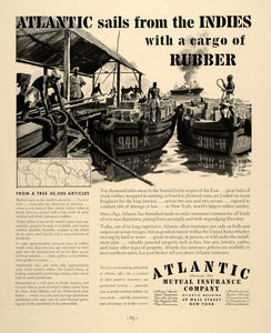 1937 Ad Atlantic Mutual Insurance Rubber Atlantic - ORIGINAL ADVERTISING FTT9