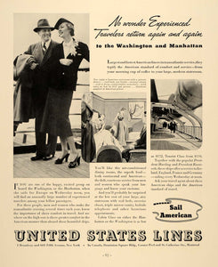 1937 Ad United States Lines Washington Manhattan Cruise - ORIGINAL FTT9