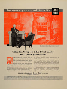 1937 Ad Jones Laughlin Steel Ignots Blooming Mill - ORIGINAL ADVERTISING FTT9