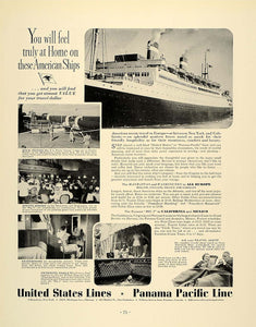 1937 Ad Steamship Cruise Liner Travel Vacation American - ORIGINAL FTT9