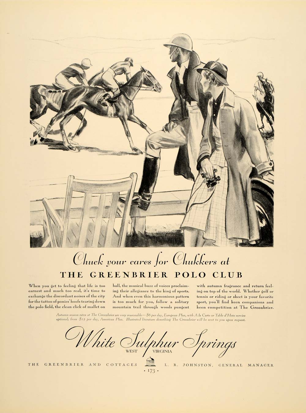 1934 Ad White Sulphur Spring Greenbier Polo Club Hotel - ORIGINAL FTT9