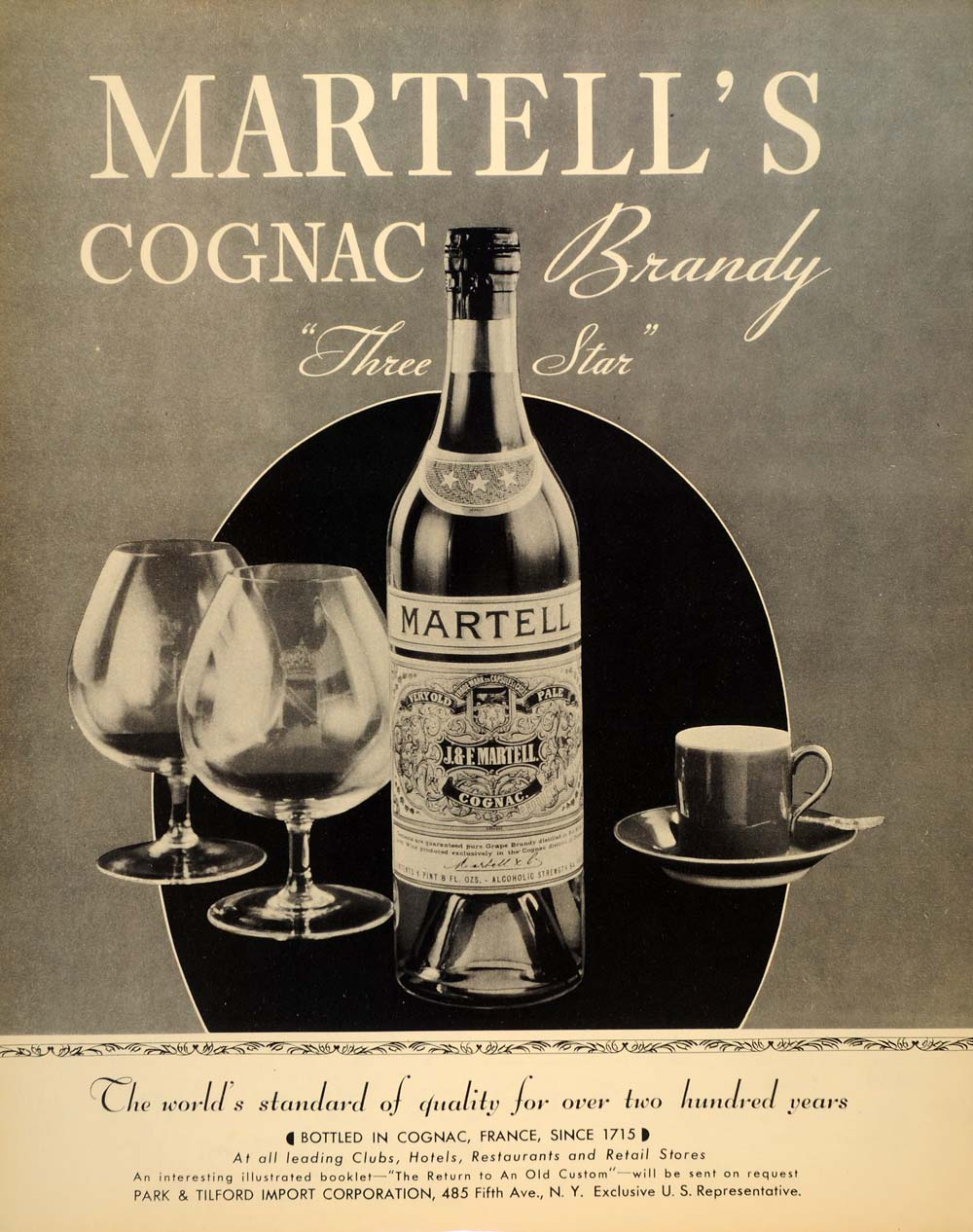 1934 Ad Park Tilford Martell's Cognac Brandy Liquor - ORIGINAL ADVERTISING FTT9