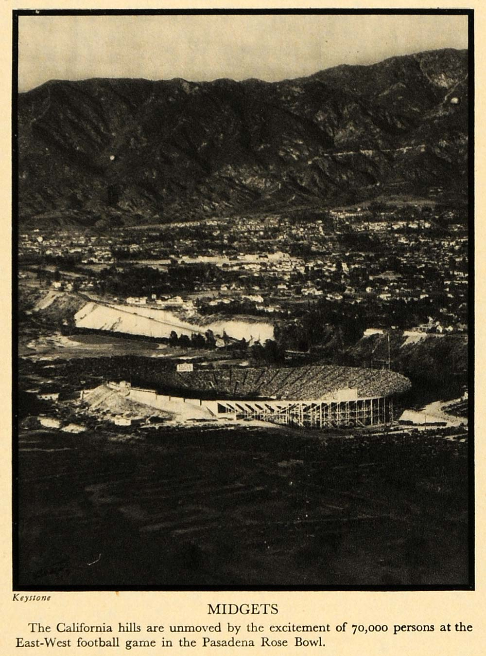 1930 Print California Hills Aerial Pasadena Rose Bowl - ORIGINAL HISTORIC FTZ1