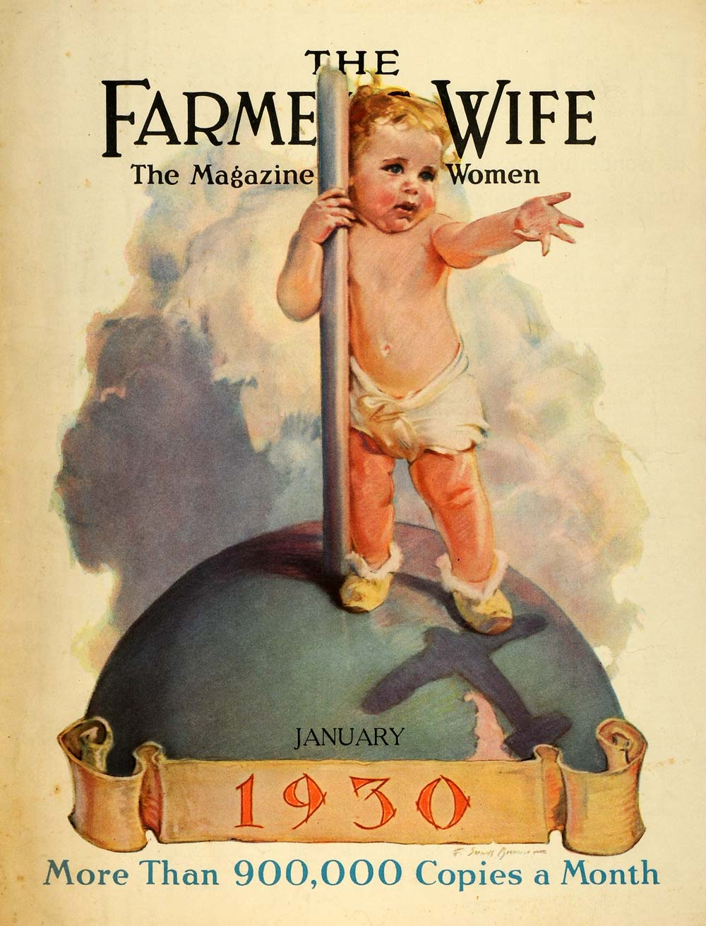 1930 Cover Farmers Wife Magazine Baby Cloth Diaper Globe Airplane Shadow FW1