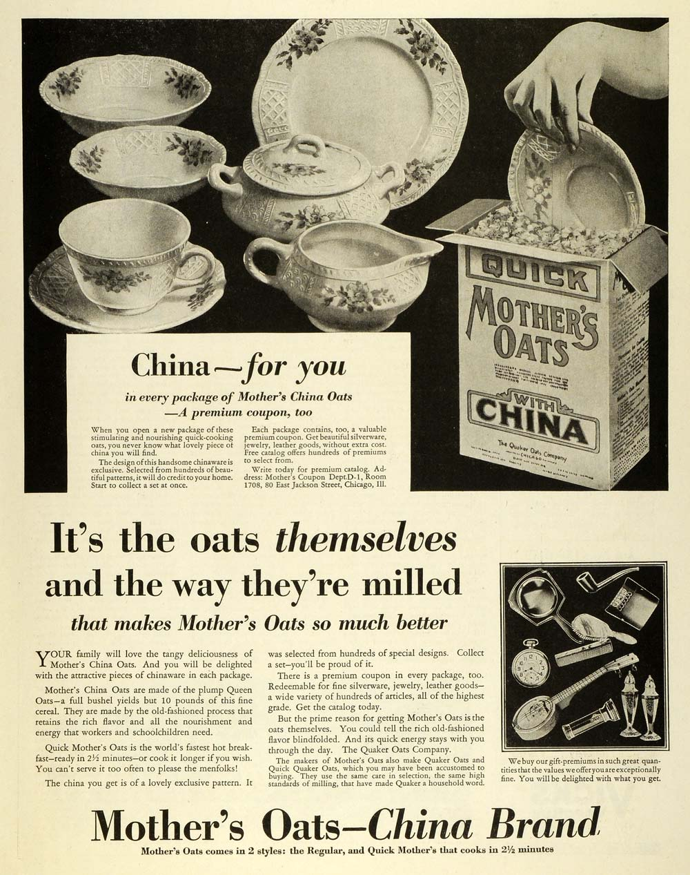 1930 Ad Quaker Quick Mothers Oats Breakfast Fine China Gift Premiums Chicago FW1