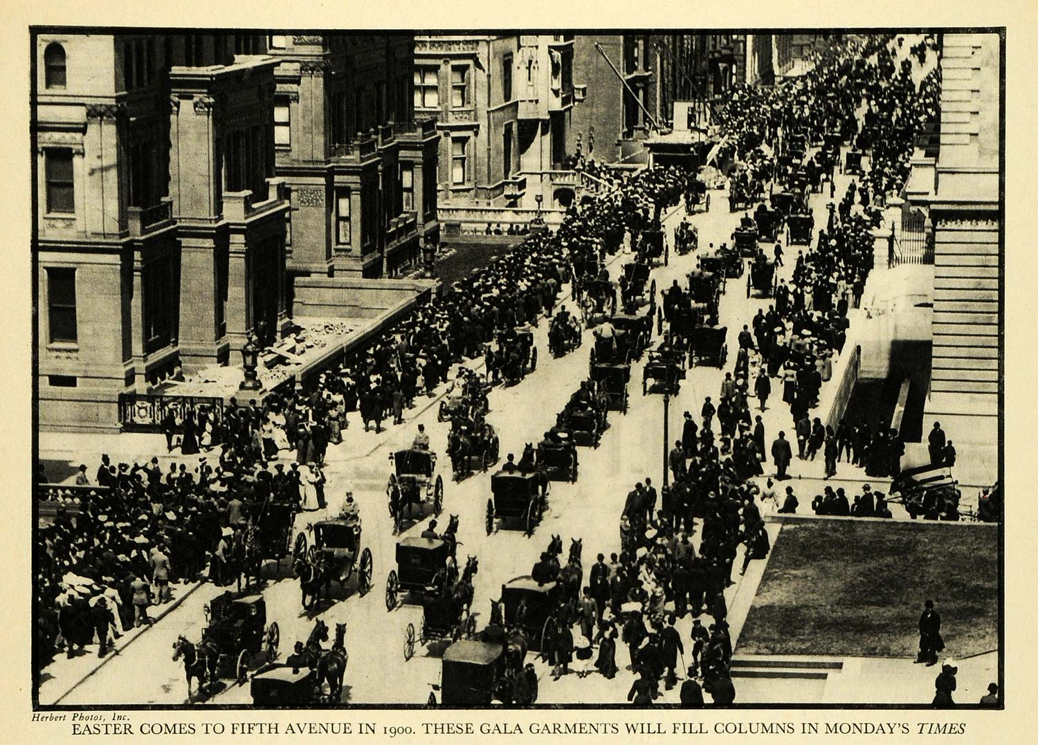 1931 Print Easter Gala 5th Avenue Horse Buggy Cart Wagon Street Traffic New FZ1