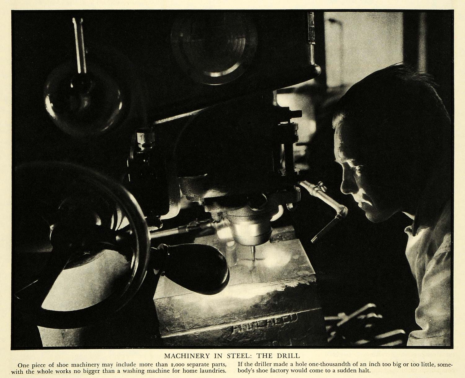 1933 Print Steel Machinery Drill United Shoe Boston Driller Factory Work FZ1