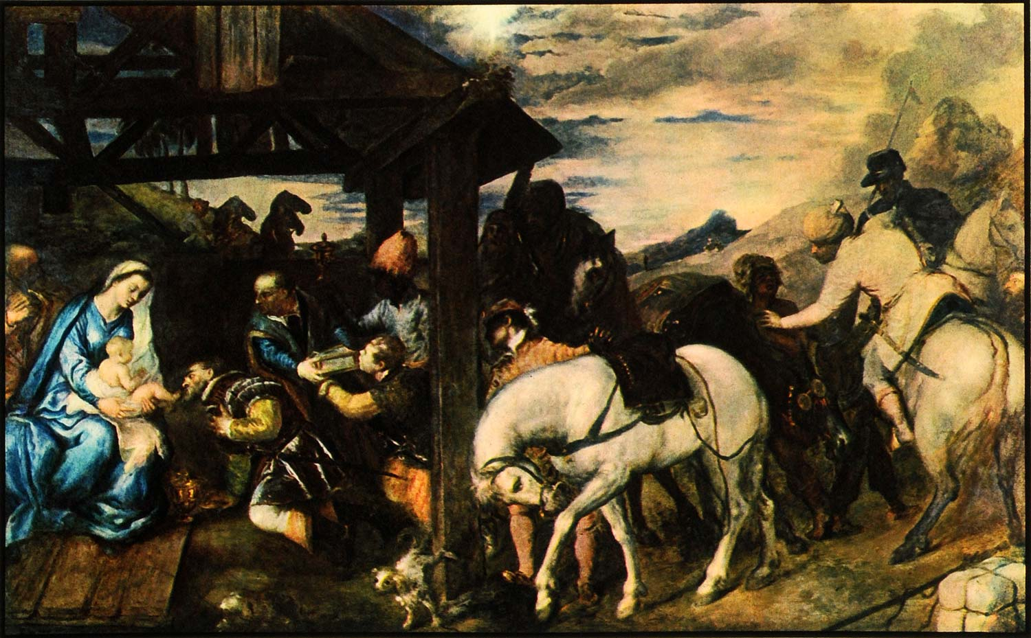 1936 Print Adoration Magi Titian Horse Mary Virgin Art Christ Jesus Stable FZ2