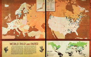 1937 Print Map World Pulp Paper Petruccelli Forest Conifer Industry FZ3