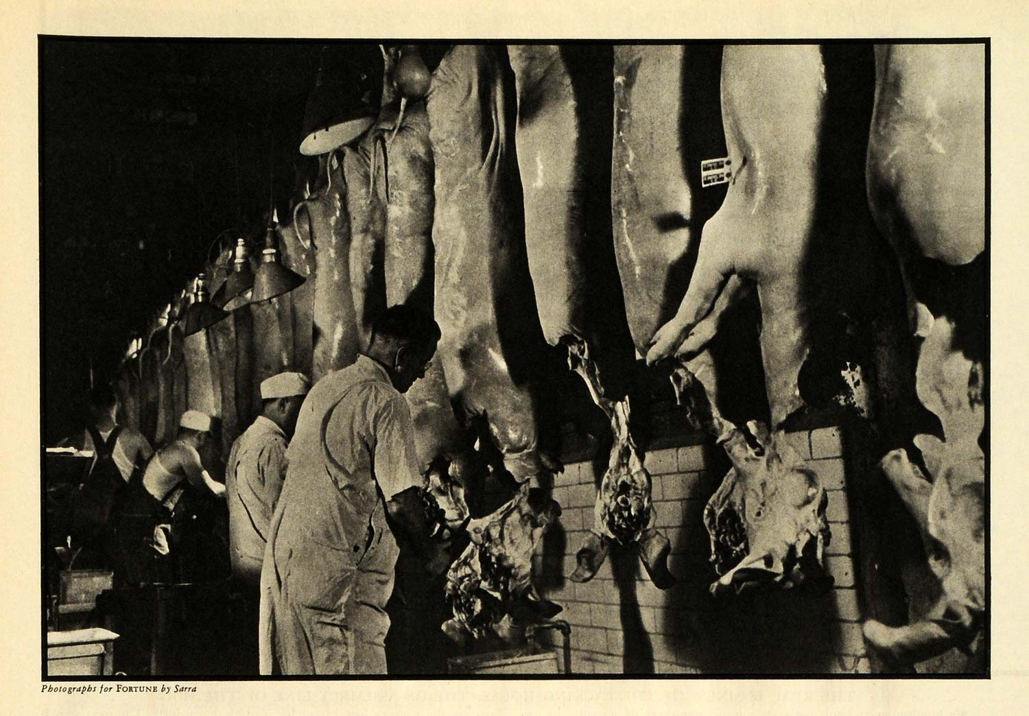 1937 Print Hormel Valentino Sarra Slaughter House Meatpacking Meat Pigs Hogs FZ3
