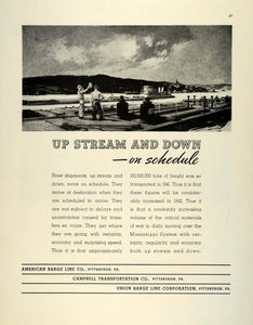 1942 Ad WWII American Union Barge Campbell Transportation Freight River FZ4