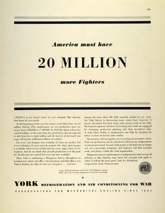 1942 Ad York Refrigeration Air Conditioning WWII Workforce War Production FZ4