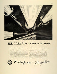 1942 Ad Westinghouse Precipitron Air Filter Airplane Engines War Production FZ4