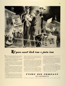 1942 Ad Union Oil California Unocal WWII Uncle Sam War Production Campaign FZ4