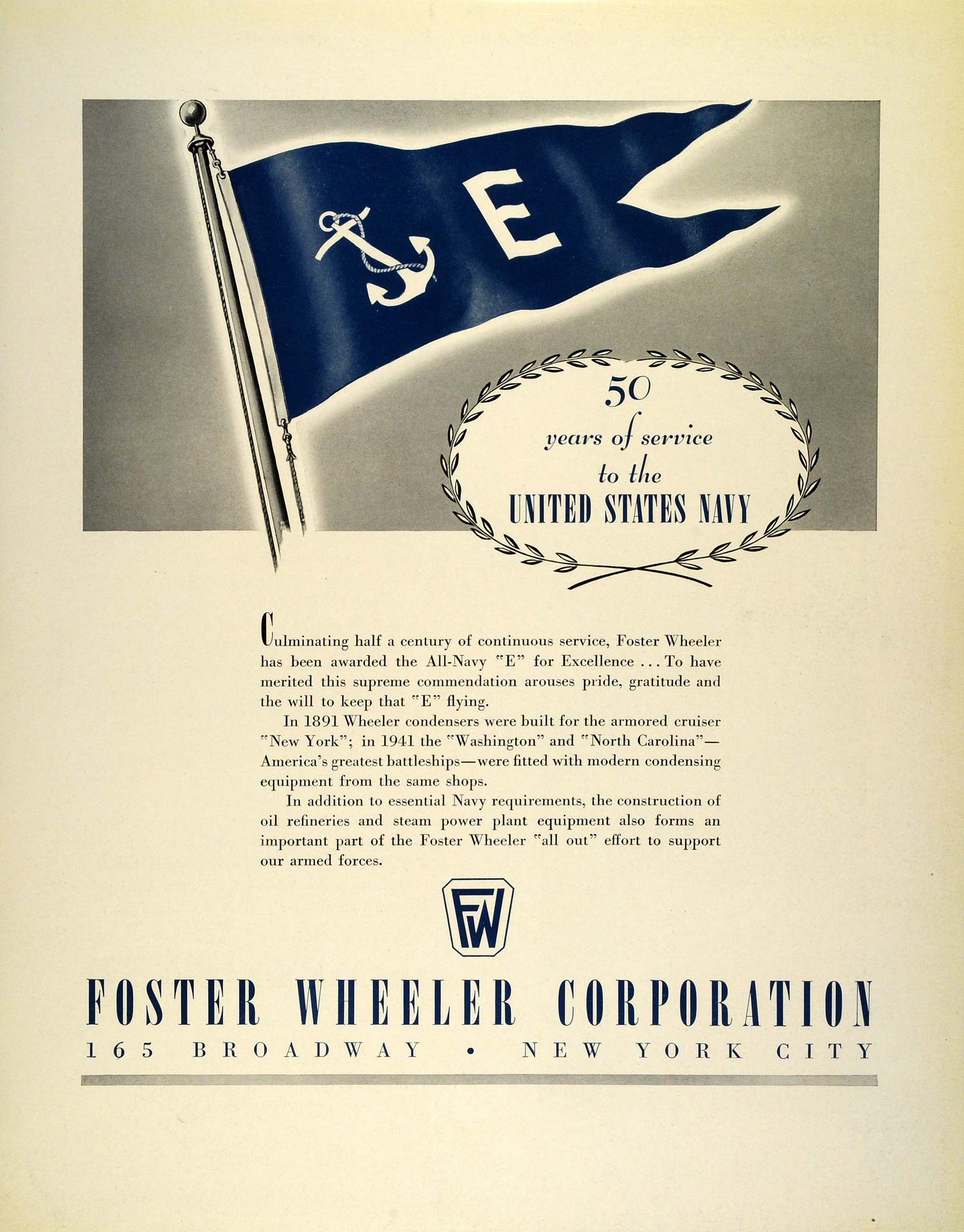 1942 Ad Foster Wheeler War Production WWII Navy E Flag Armored Cruiser Ships FZ4