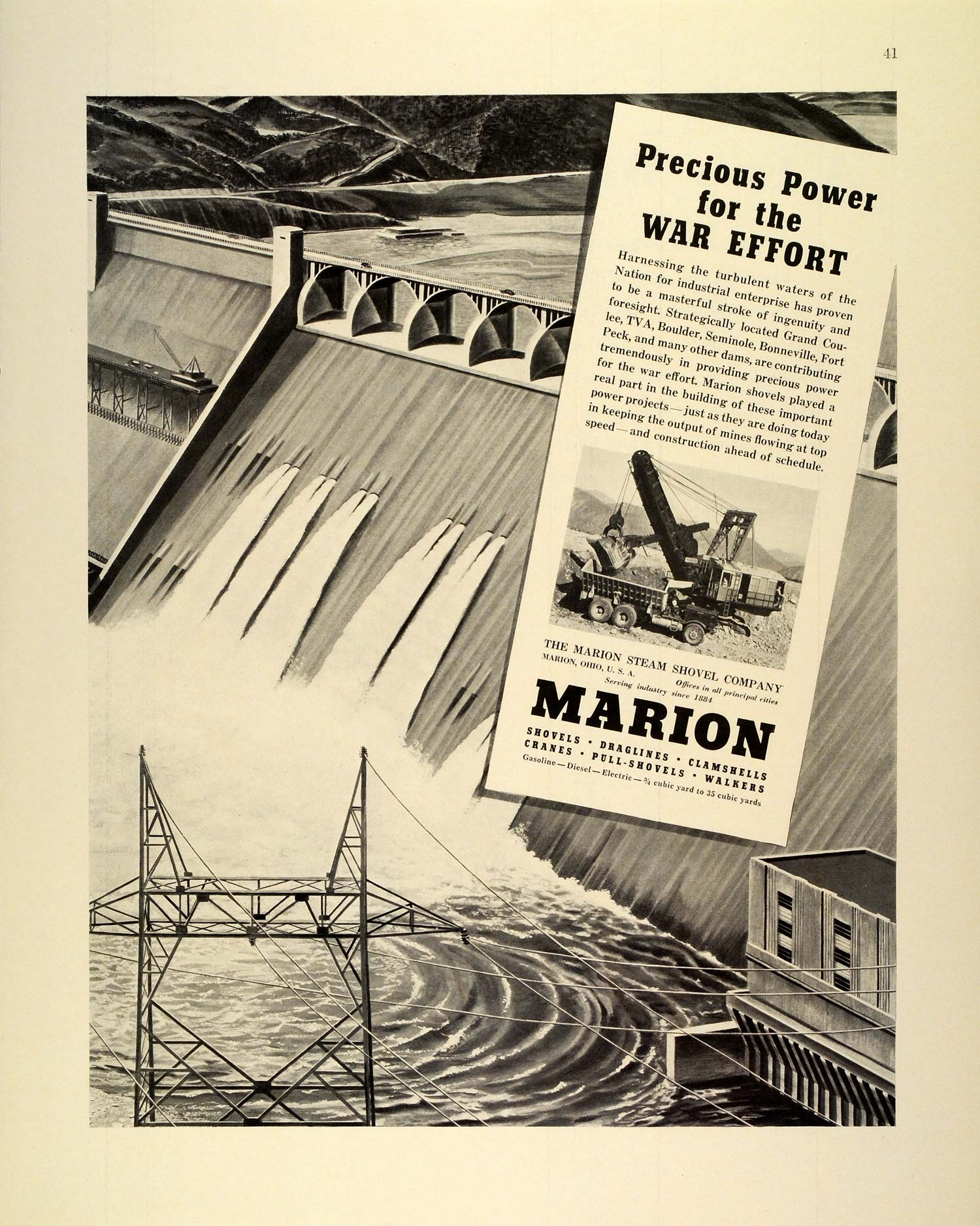 1942 Ad Marion Steam Shovel Engineering Dams Mine Mining WWII War Production FZ4