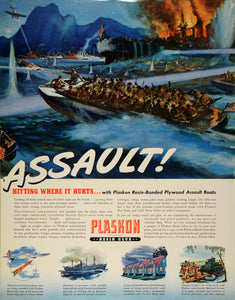 1942 Ad Plaskon Resin Glue Assault Boats Military WWII Battleship James FZ4