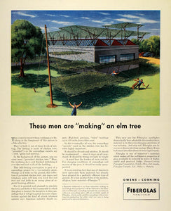 1942 Ad Owens Corning Fiberglas Elm Tree Construction Camouflage Military FZ4