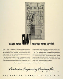 1942 Ad Combustion Engineering C E Boiler Unit Wartime WWII War Production FZ4