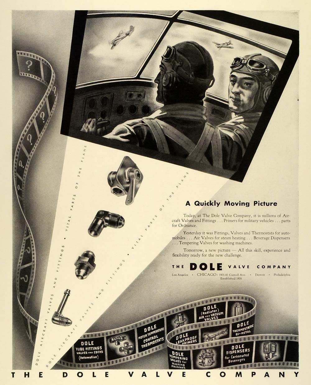 1942 Ad Dole Valve Fittings World War II Pilots Planes Navy Air Force FZ4