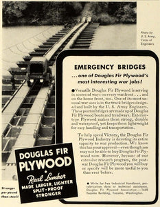 1942 Ad Douglas Fir Plywood Emergency Bridges World War II Army Corps FZ4