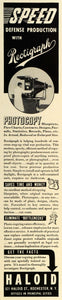 1942 Ad Rectigraph Photocopy Haloid Enlarge Reduce Size World War II Era FZ4