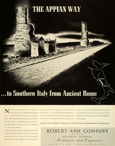 1941 Ad Robert & Co Inc Architects & Engineers Ancient Rome Italy Appian Way FZ5