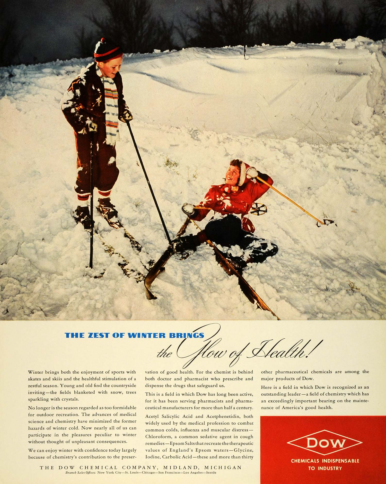 1941 Ad Dow Chemical Pharmaceutical Midland Michigan Sport Children Skiing FZ5