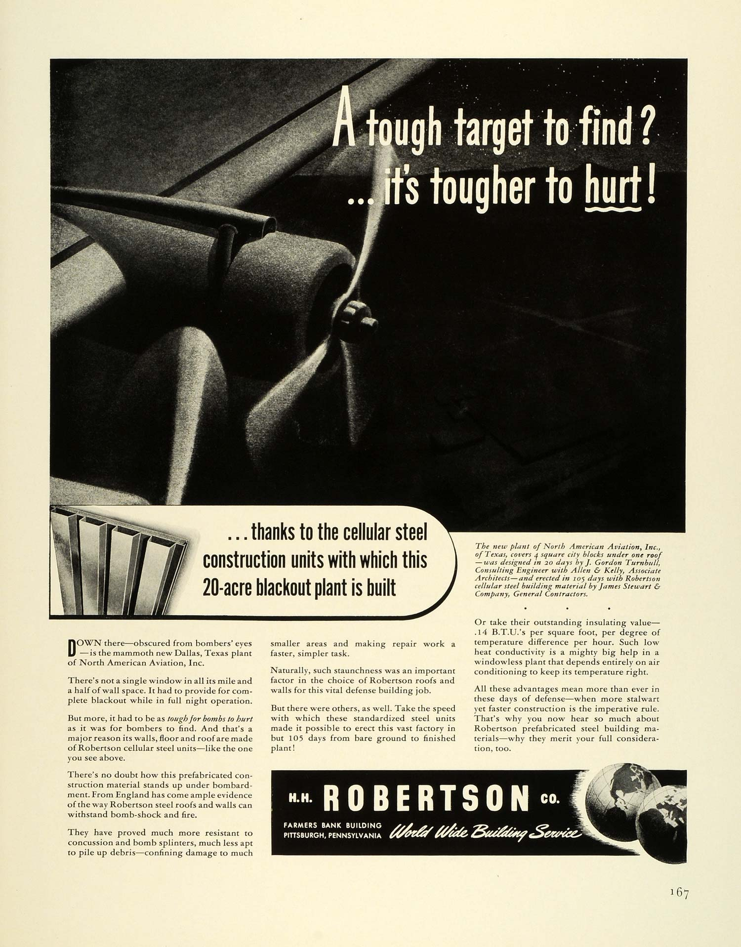 1941 Ad H H Robertson Cellular Steel Units Roof Walls Vintage Airplane FZ5