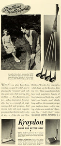 1941 Ad Kroydon Golf Clubs Blue Ribbon Woods Golfing Hy Power Irons Shaft FZ5