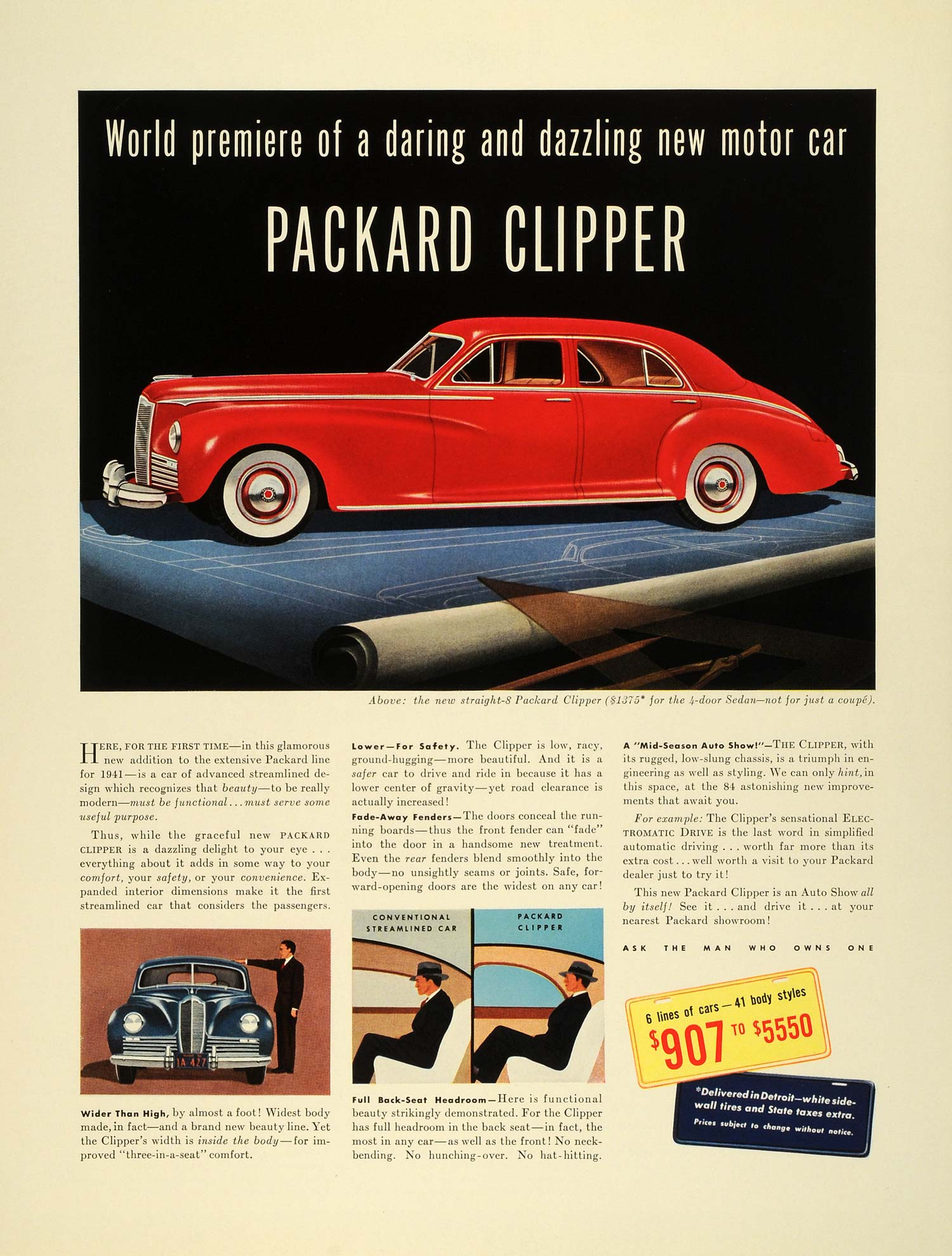 Vintage Advertising Art Tagged Cars Page 2 Period Paper Body Wiring Diagram For 1942 Chevrolet Two And Four Door Sedans 1941 Ad Straight Eight Packard Clipper Automobile Specifications Fz5