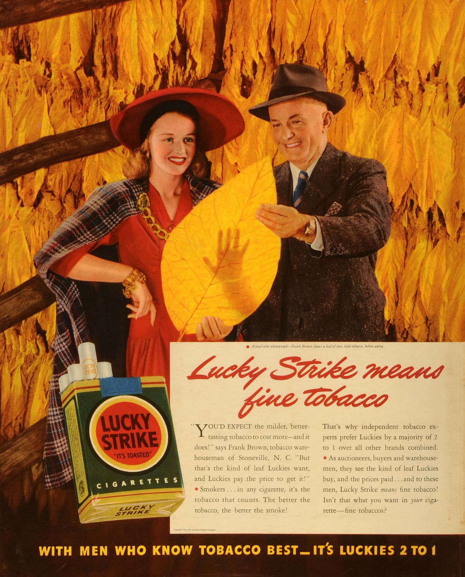 1941 Ad Lucky Strike Cigarettes Giant American Tobacco Leaves Frank Brown  FZ5