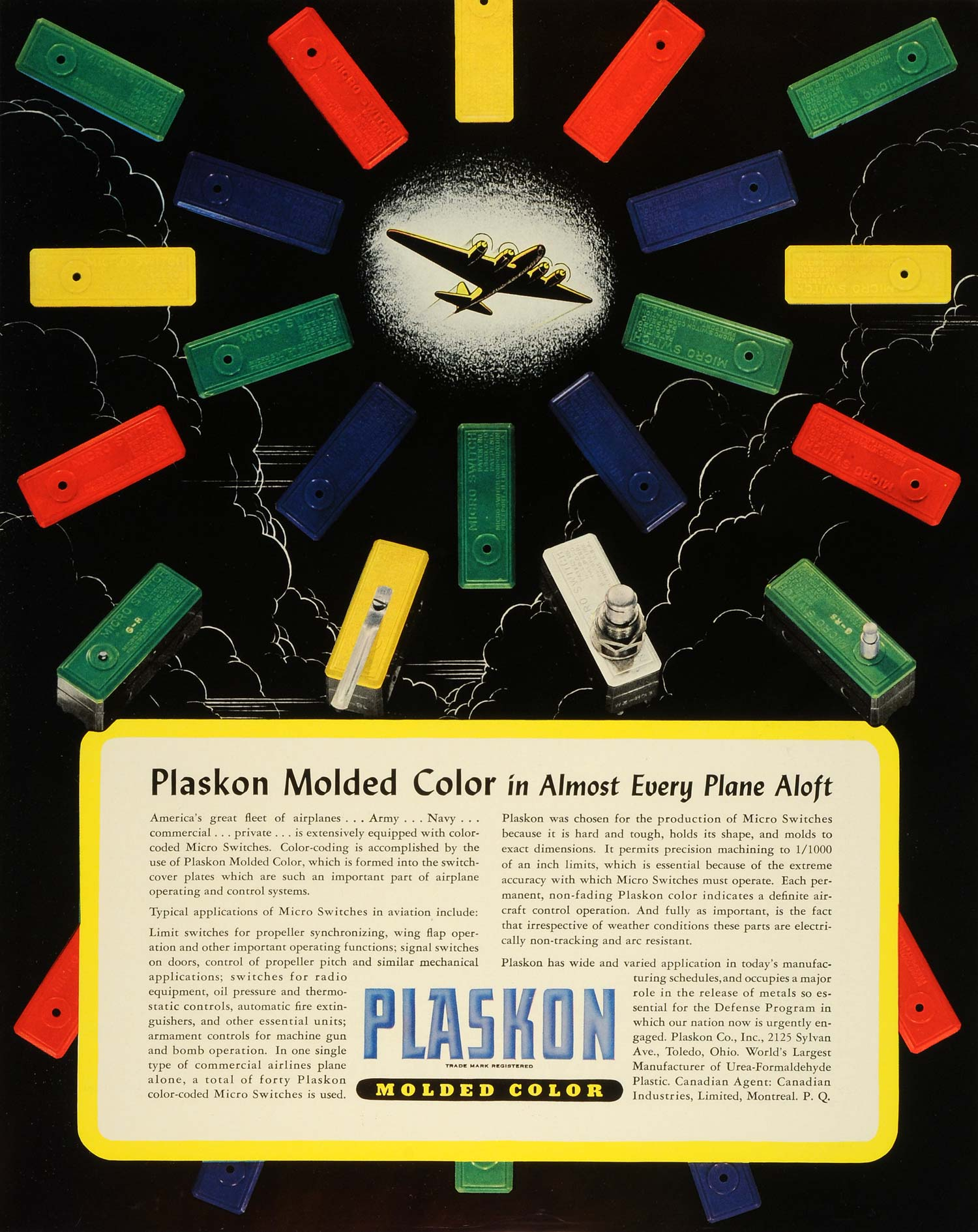 1941 Ad Plaskon Molded Color Coding Micro Switches Airplanes Control System FZ5