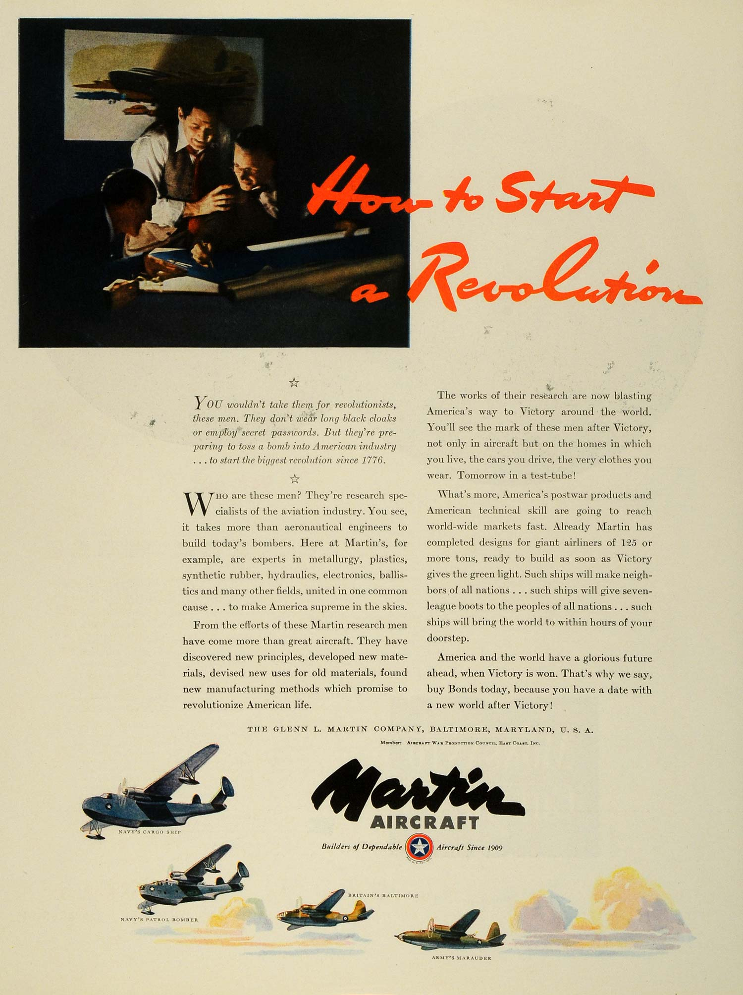 1943 Ad Glenn Martin Military Aircraft Navy Army Air Force WWII War FZ5