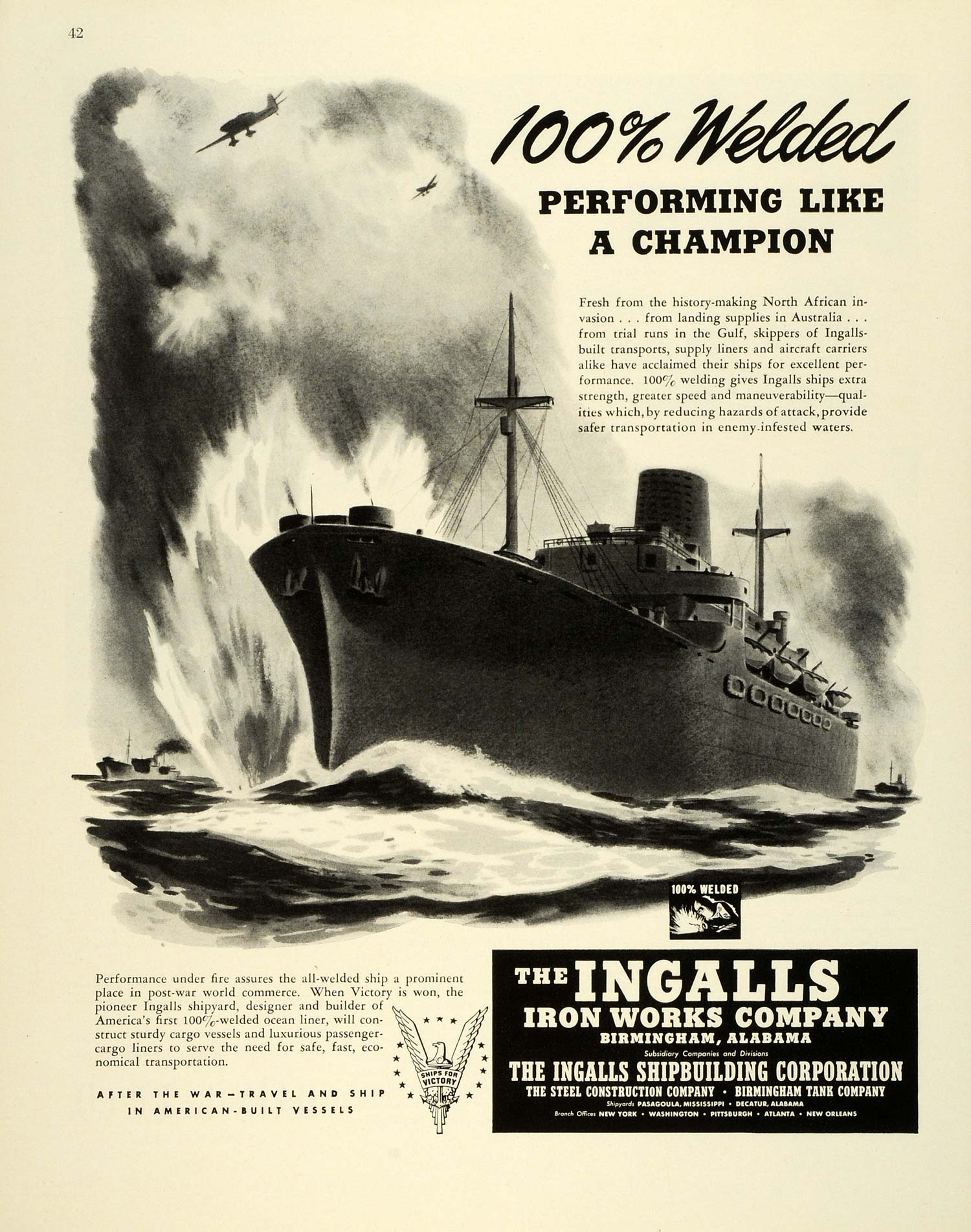 1943 Ad Ingalls Iron Works WWII Shipbuilders Welding Navy Military FZ5