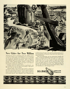 1941 Ad Diamond Roller Chain Drives Army Defense Military Camp Construction FZ5
