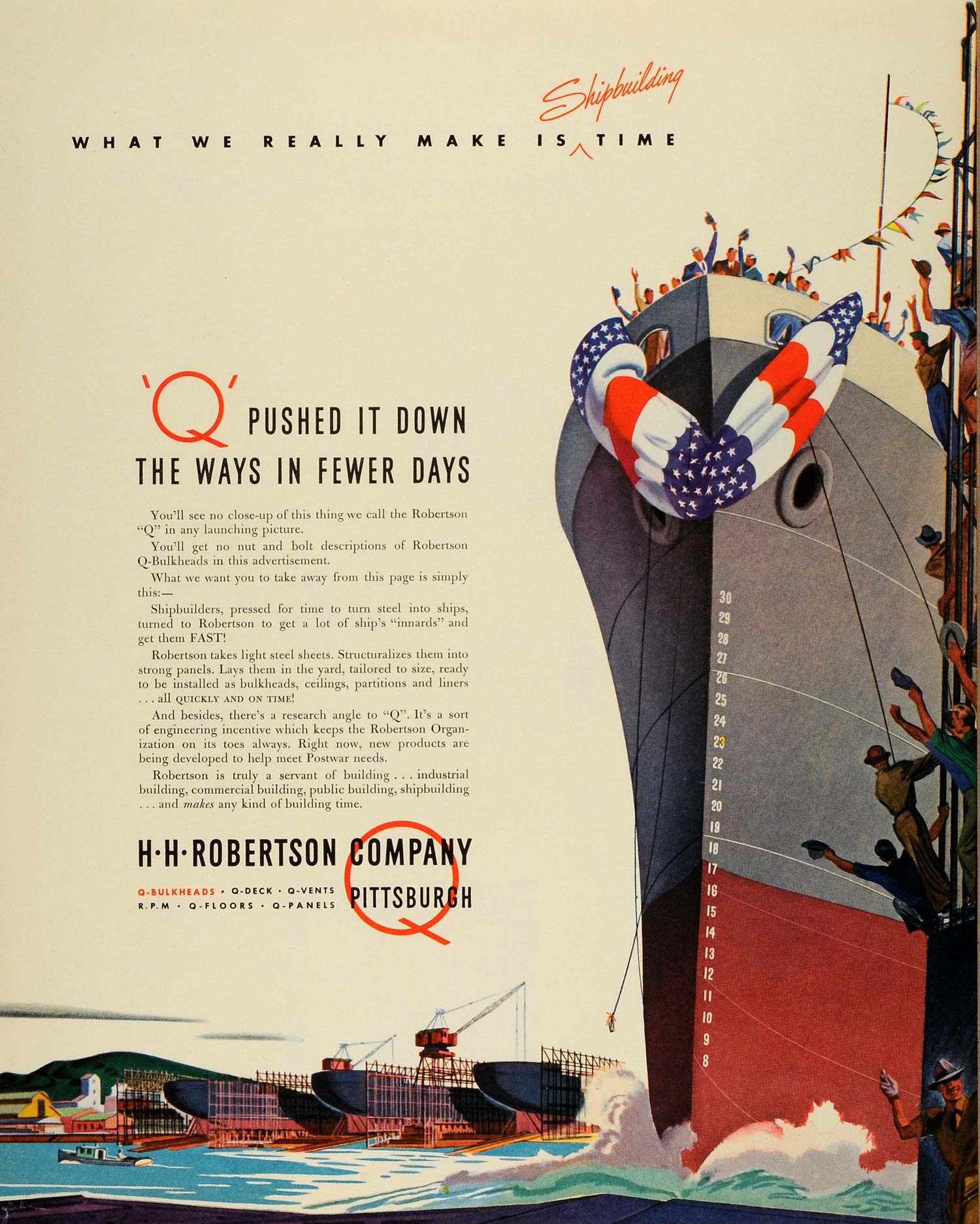 1943 Ad H H Robertson Co Flag Pittsburgh Ship Watercraft Q-Bulkheads Vintage FZ5