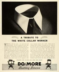1943 Ad Domore Office Supplies Desk Chairs WWII Patriotic White Collar FZ5