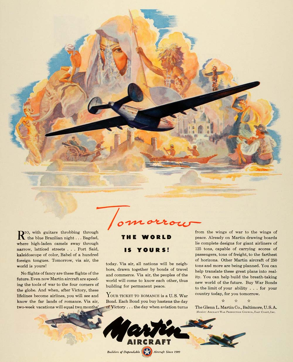 1943 Ad Glenn L. Martin Military Aircraft WWII War Production Aviation FZ5