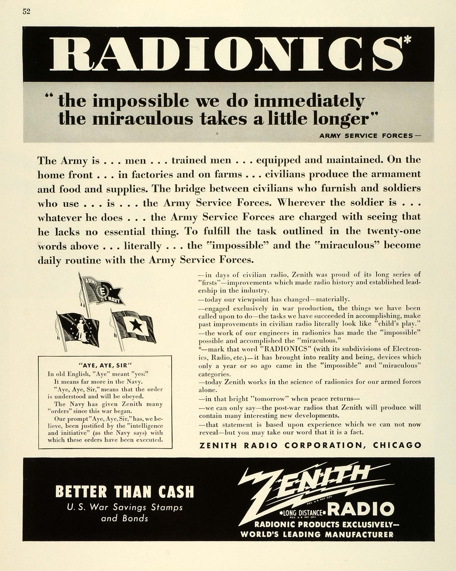 1943 Ad Zenith Radio Radionics Electrical Engineering WWII War Production FZ5