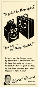 1941 Ad Hotel Nicollet Travel Minneapolis Vacation Lodging Neil R. Messick FZ5