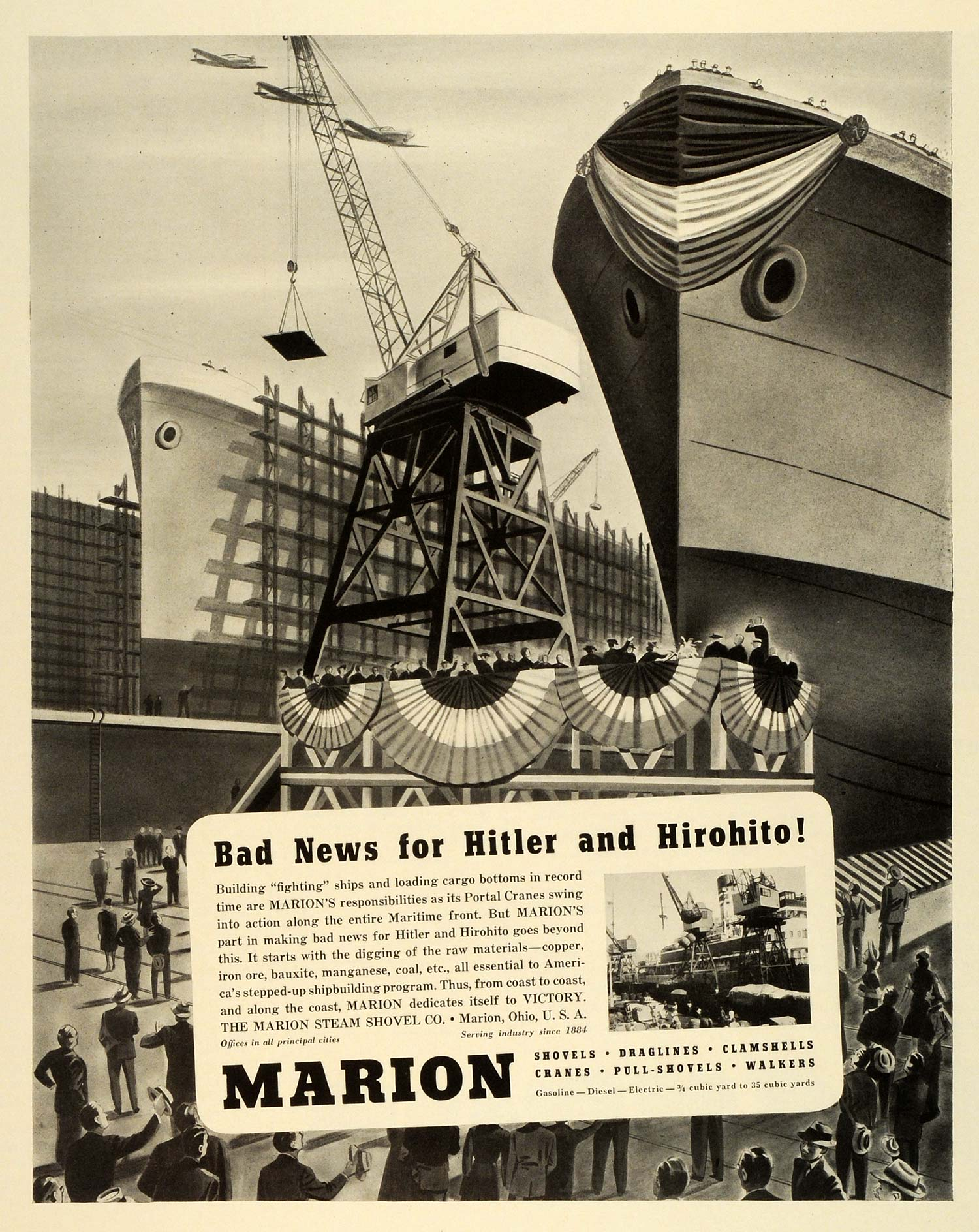 1942 Ad Marion Steam Shovel Co Ohio Drag Lines Machinery Ship Seaport FZ6
