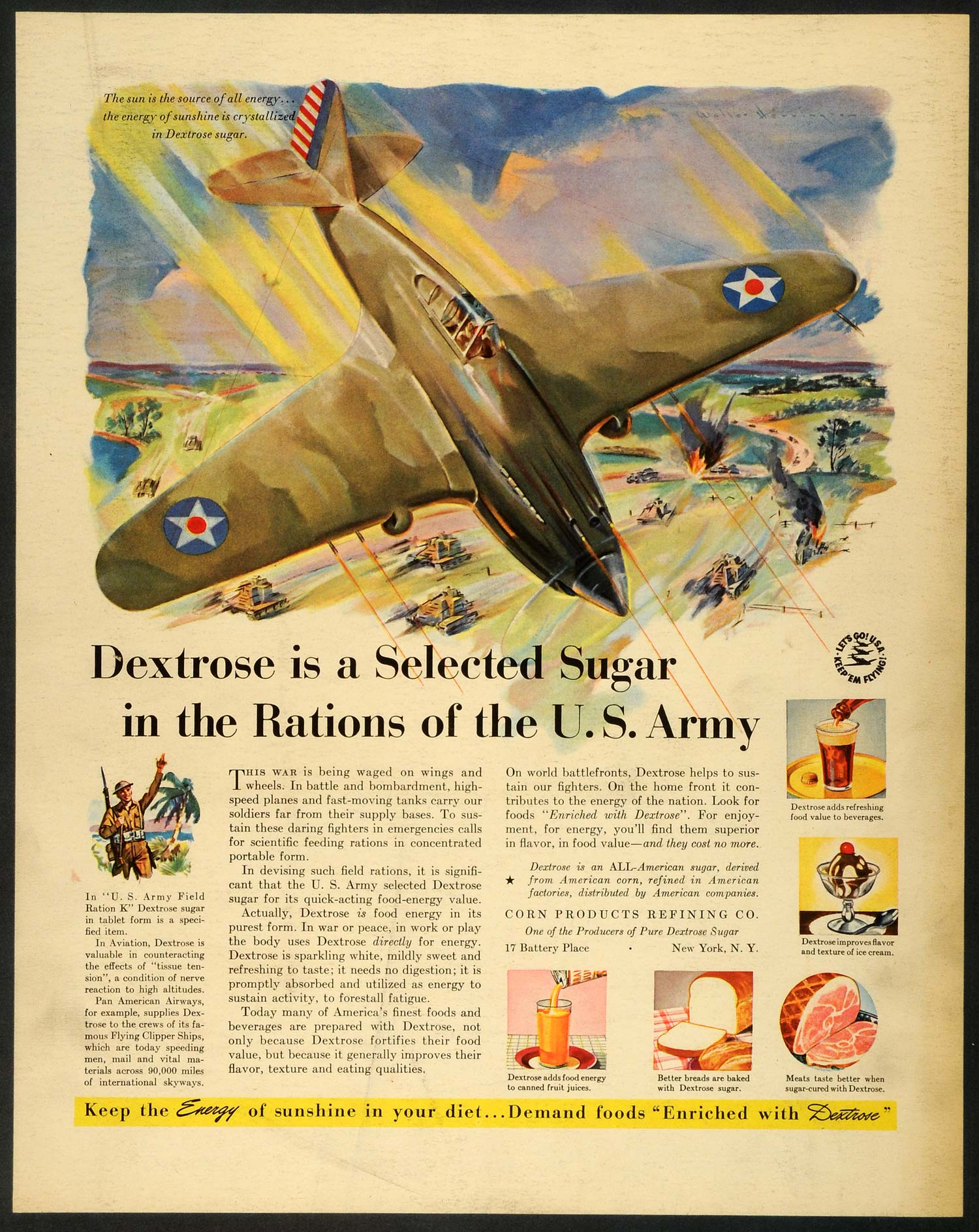 1942 Ad Corn Products Refining Pure Dextrose Sugar US Army Rations Bomber FZ6
