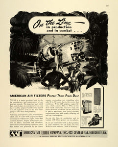 1942 Ad AAF American Air Filter WWII War Production Airplane Engine Dust FZ6
