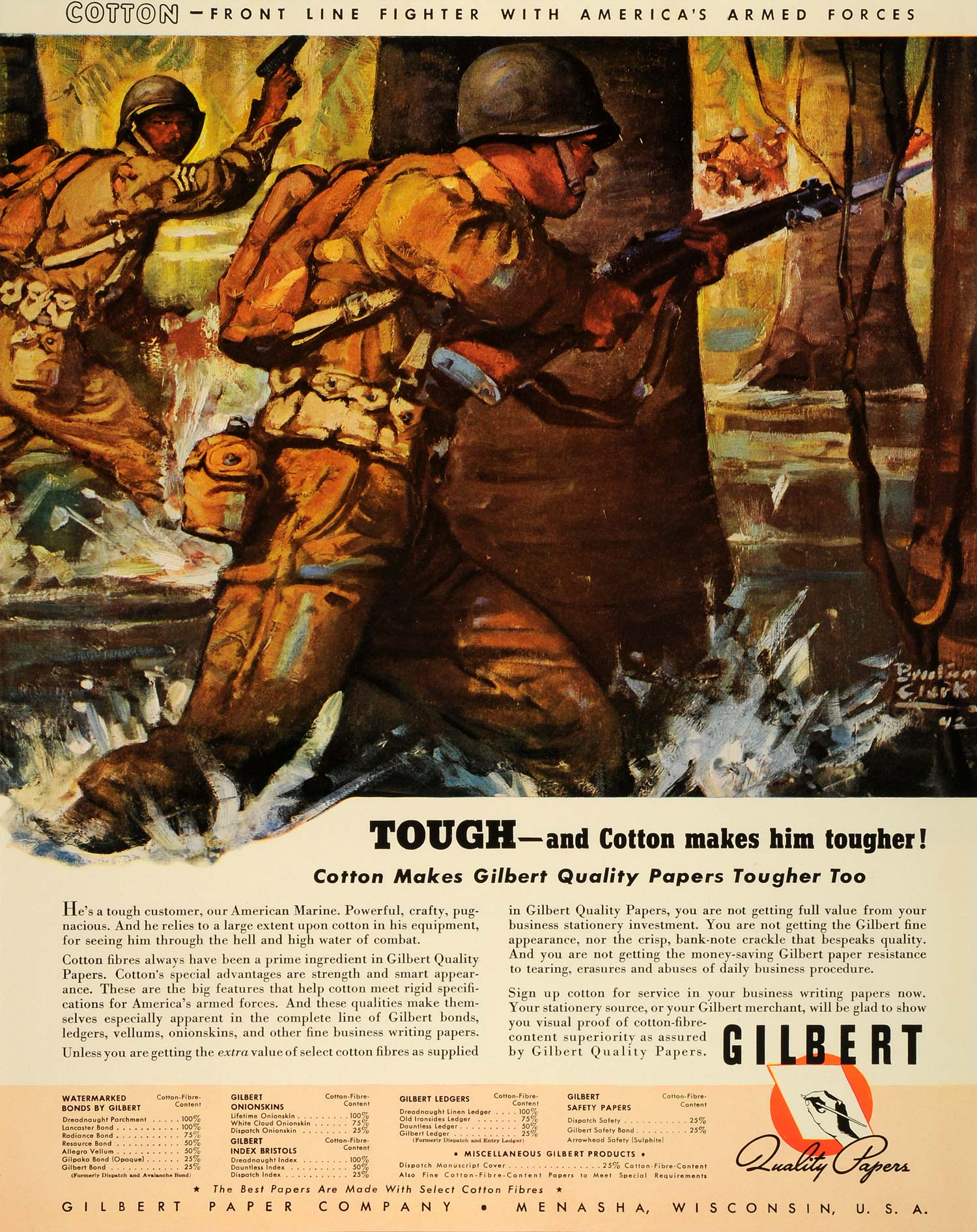 1942 Ad Cotton Fibre Gilbert Quality Paper WWII War Production Benton Clark FZ6