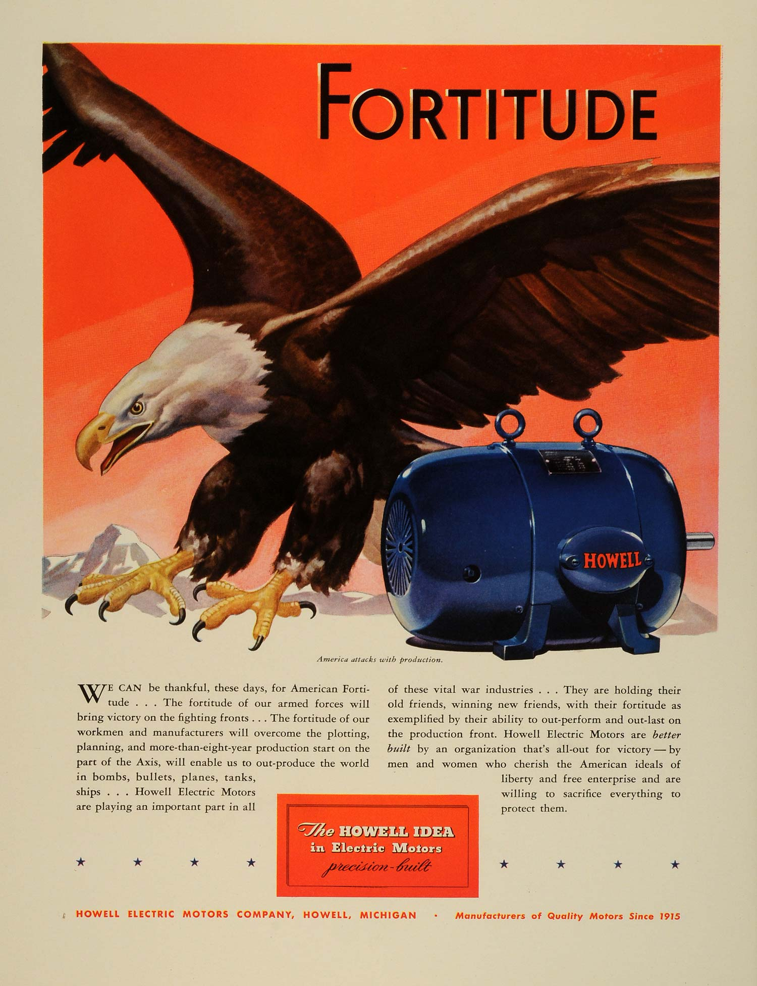 1942 Ad Howell Electric Motors WWII War Production Plants Bald Eagle FZ6
